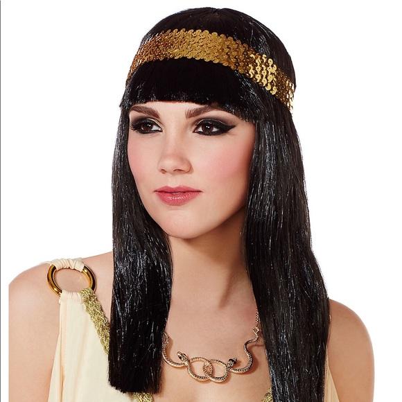 Egyptian Goddess Cleopatra Wig with Headband Black Hair Queen Gold Headband